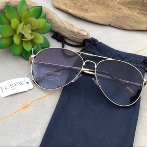 New J Crew French Navy Gold Aviator Sunglasses